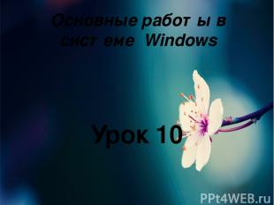 Основные работы в системе Windows Урок 10