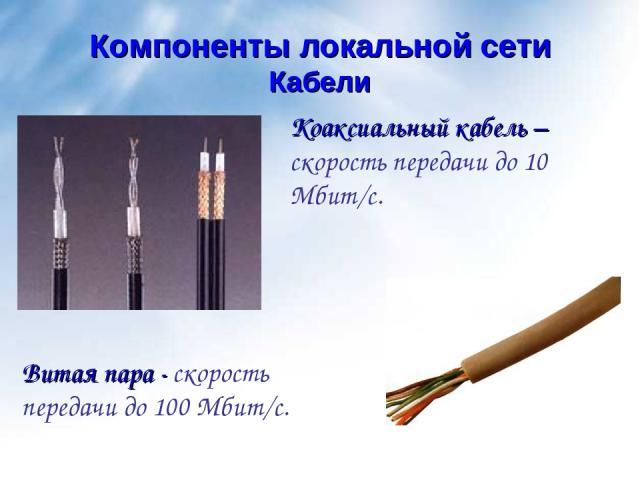 Кабели Компоненты локальной сети Коаксиальный кабель – скорость передачи до 10 Мбит/с. Витая пара - скорость передачи до 100 Мбит/с.