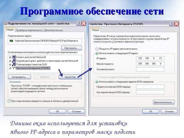 Программное обеспечение сети Данные окна используются для установки явного IP-адреса и параметров маски подсети