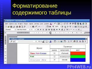 Форматирование содержимого таблицы Теперь, когда таблица создана, можно приступи
