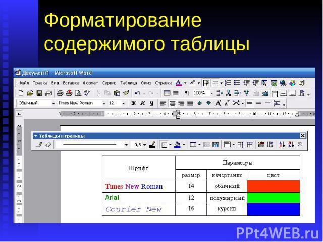 Форматирование содержимого таблицы Теперь, когда таблица создана, можно приступить к форматированию ее содержания. Тексты в каждой ячейке таблицы можно отформатировать так же как любой другой абзац. Вот пример различного форматирования текста в разн…