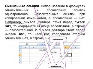 Смешанные ссылки использование в формулах относительных и абсолютных ссылок одно