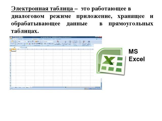 Электронная таблица – это работающее в диалоговом режиме приложение, хранящее и обрабатывающее данные в прямоугольных таблицах. MS Excel
