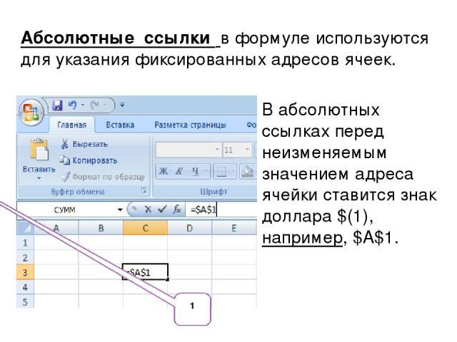 Абсолютные ссылки в формуле используются для указания фиксированных адресов ячеек. В абсолютных ссылках перед неизменяемым значением адреса ячейки ставится знак доллара $(1), например, $А$1. 1