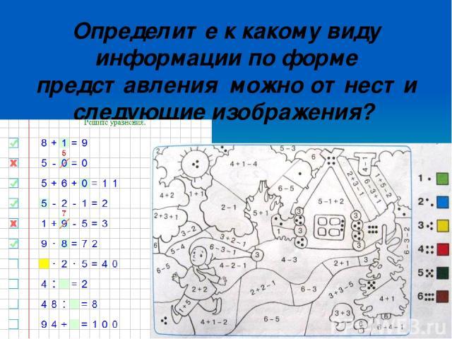 Определите к какому виду информации по форме представления можно отнести следующие изображения?