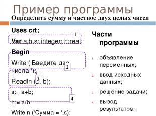 Пример программы Uses crt; Var a,b,s: integer; h:real; Begin Write ('Введите два