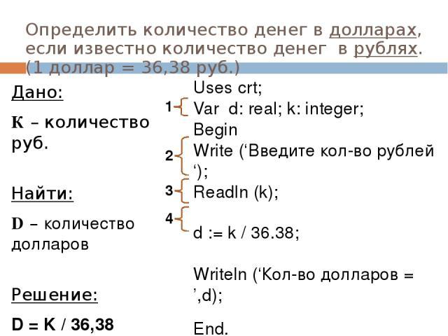 Определить количество денег в долларах, если известно количество денег в рублях. (1 доллар = 36,38 руб.) Дано: К – количество руб. Найти: D – количество долларов Решение: D = K / 36,38 Write ('Введите кол-во рублей '); Readln (k); d := k / 36.38; Wr…