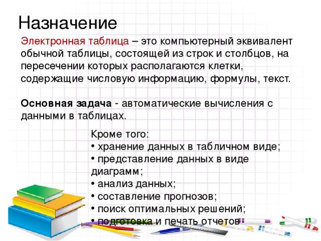 Электронная таблица – это компьютерный эквивалент обычной таблицы, состоящей из строк и столбцов, на пересечении которых располагаются клетки, содержащие числовую информацию, формулы, текст. Основная задача - автоматические вычисления с данными в та…