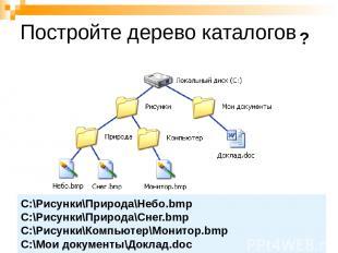 Постройте дерево каталогов C:\Рисунки\Природа\Небо.bmp C:\Рисунки\Природа\Снег.b