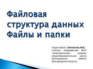 Подготовила: Збинякова М.В., Учитель информатики МОУ «Комсомольская средняя обще