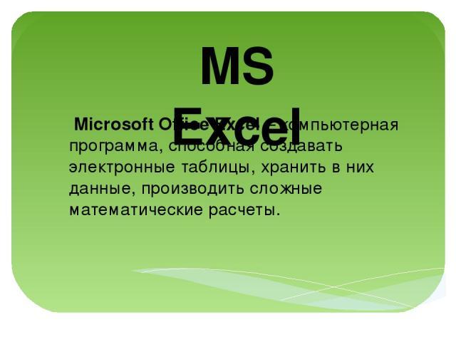 MS Excel Microsoft Office Excel – компьютерная программа, способная создавать электронные таблицы, хранить в них данные, производить сложные математические расчеты.