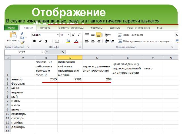 Отображение формулы В случае изменения данных, результат автоматически пересчитывается.