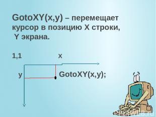 GotoXY(x,y) – перемещает курсор в позицию Х строки, Y экрана. 1,1 X y GotoXY(x,y