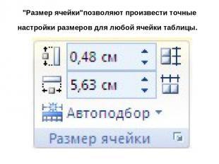 """""""Размер ячейки""""позволяют произвести точные настройки размеров для любой ячейки т"""