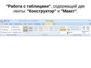 """""""Работа с таблицами"""", содержащий две ленты: """"Конструктор"""" и """"Макет""""."""