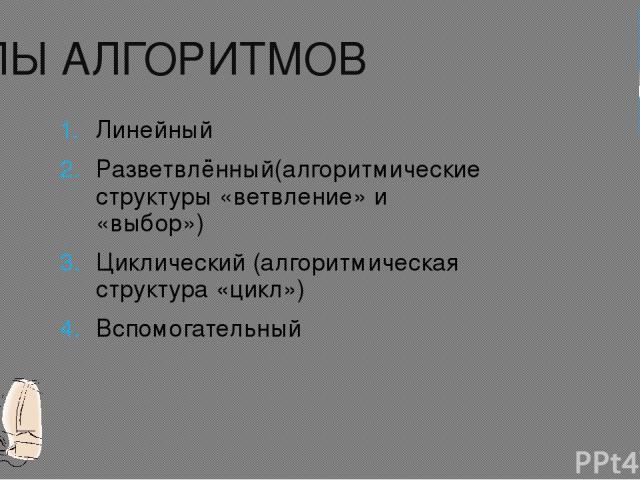 ТИПЫ АЛГОРИТМОВ Линейный Разветвлённый(алгоритмические структуры «ветвление» и «выбор») Циклический (алгоритмическая структура «цикл») Вспомогательный