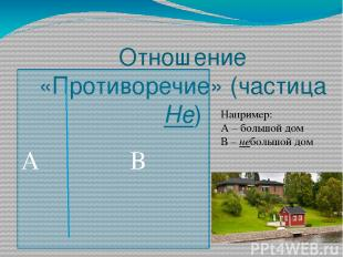 Отношение «Противоречие» (частица Не) А В Например: А – большой дом В – небольшо