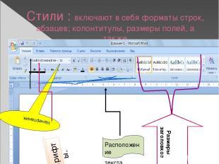 Стили : включают в себя форматы строк, абзацев; колонтитулы, размеры полей, а та