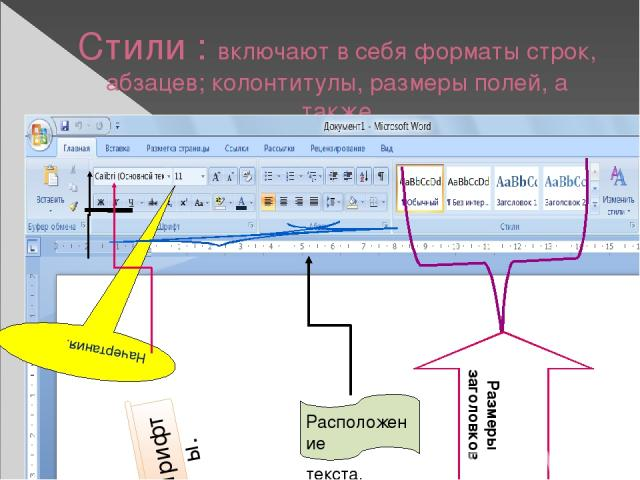 Стили : включают в себя форматы строк, абзацев; колонтитулы, размеры полей, а также Шрифты. Расположение текста. Размеры заголовков
