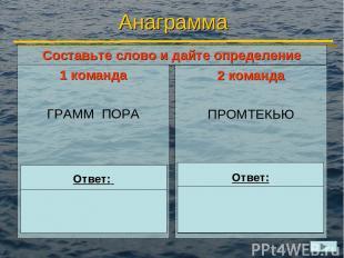 Анаграмма 1 команда ГРАММ ПОРА 2 команда ПРОМТЕКЬЮ Ответ: ПРОГРАММА Ответ: КОМПЬ