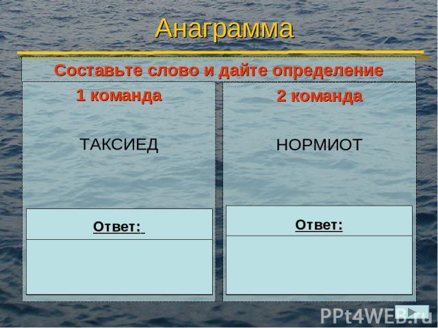 Анаграмма 1 команда ТАКСИЕД 2 команда НОРМИОТ Ответ: ДИСКЕТА Ответ: МОНИТОР Составьте слово и дайте определение