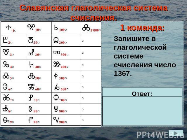 Славянская глаголическая система счисления. 1 команда: Запишите в глаголической системе счисления число 1367. Ответ: =1000+300+60+7