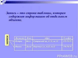 Запись – это строка таблицы, которая содержит информацию об отдельном объекте. Ф