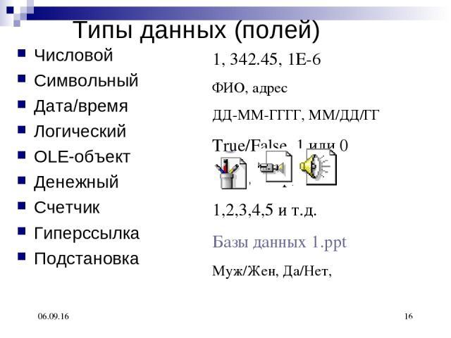 * * 1, 342.45, 1Е-6 ФИО, адрес ДД-ММ-ГГГГ, ММ/ДД/ГГ True/False, 1 или 0 $100, 100р, €100 1,2,3,4,5 и т.д. Базы данных 1.ppt Муж/Жен, Да/Нет, Типы данных (полей) Числовой Символьный Дата/время Логический OLE-объект Денежный Счетчик Гиперссылка Подстановка