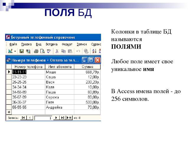ПОЛЯ БД Колонки в таблице БД называются ПОЛЯМИ Любое поле имеет свое уникальное имя В Access имена полей - до 256 символов.