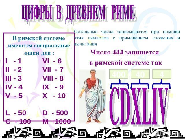 В римской системе имеются специальные знаки для : I - 1 VI - 6 II - 2 VII - 7 III - 3 VIII - 8 IV - 4 IX - 9 V - 5 X - 10 L - 50 D - 500 C - 100 M -1000 Остальные числа записываются при помощи этих символов с применением сложения и вычитания Число 4…