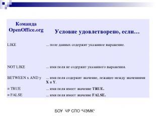 Команда OpenOffice.org Условие удовлетворено, если… LIKE ... поле данных содержи