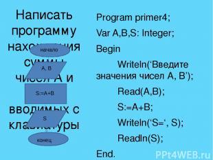 Var a, b, c: integer; r, d: real; a:=5;b:=20;c:=-7; d:=2