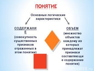 Основные логические характеристики СОДЕРЖАНИЕ (совокупность существенных признак