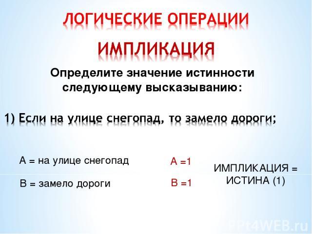 Определите значение истинности следующему высказыванию: А = на улице снегопад В = замело дороги А =1 В =1 ИМПЛИКАЦИЯ = ИСТИНА (1)