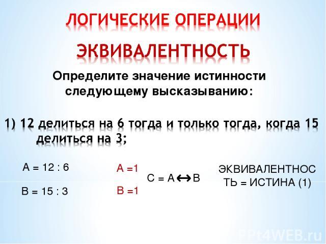 Определите значение истинности следующему высказыванию: А = 12 : 6 В = 15 : 3 А =1 В =1 ЭКВИВАЛЕНТНОСТЬ = ИСТИНА (1)