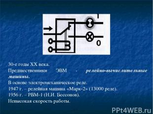 30-е годы XX века. Предшественники ЭВМ - релейно-вычислительные машины. В основе