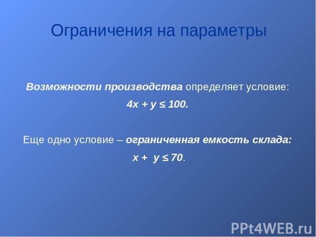Возможности производства определяет условие: 4x + y ≤ 100. Еще одно условие – ограниченная емкость склада: x + y ≤ 70. Ограничения на параметры