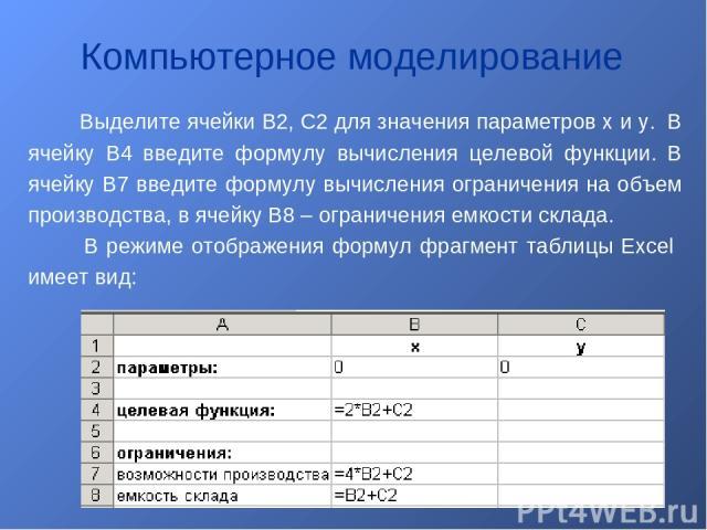 Выделите ячейки B2, C2 для значения параметров x и y. В ячейку B4 введите формулу вычисления целевой функции. В ячейку B7 введите формулу вычисления ограничения на объем производства, в ячейку B8 – ограничения емкости склада. В режиме отображения фо…