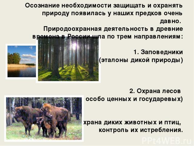 Осознание необходимости защищать и охранять природу появилась у наших предков очень давно. Природоохранная деятельность в древние времена в России шла по трем направлениям: 1. Заповедники (эталоны дикой природы) 2. Охрана лесов (в первую очередь осо…