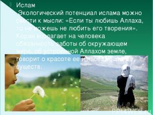 Ислам Экологический потенциал ислама можно свести к мысли: «Если ты любишь Аллах