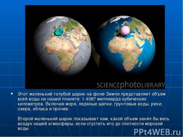 Этот маленький голубой шарик на фоне Земли представляет объем всей воды на нашей планете. 1.4087 миллиарда кубических километров. Включая моря, ледяные шапки, грунтовые воды, реки, озера, облака и прочее. Второй маленький шарик показывает нам, какой…