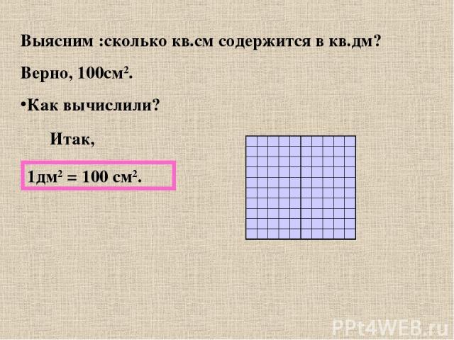 Выясним :сколько кв.см содержится в кв.дм? Верно, 100см2. Как вычислили? Итак, 1дм2 = 100 см2.