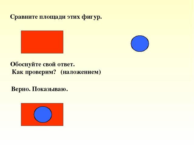 Сравните площади этих фигур. Обоснуйте свой ответ. Как проверим? (наложением) Верно. Показываю.