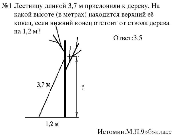 Лестницу длиной3,7 мприслонили к дереву. На какой высоте (в метрах) находится верхний её конец, если нижний конец отстоит от ствола дерева на1,2 м? Ответ:3,5 Истомин.М.П.9»б»класс №1