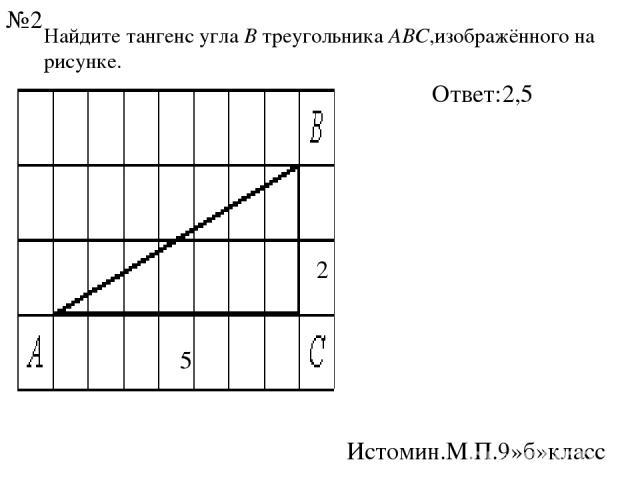 Найдите тангенс углаВтреугольникаABC,изображённого на рисунке. 2 Ответ:2,5 Истомин.М.П.9»б»класс №2 5