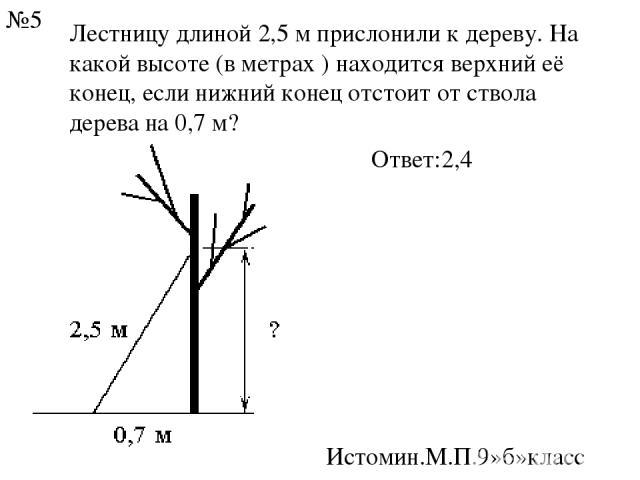 Лестницу длиной2,5 мприслонили к дереву. На какой высоте (в метрах ) находится верхний её конец, если нижний конец отстоит от ствола дерева на0,7 м? Ответ:2,4 Истомин.М.П.9»б»класс №5