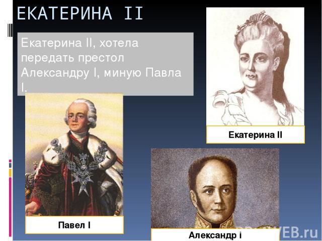 ЕКАТЕРИНА II Екатерина II, хотела передать престол Александру I, миную Павла I. Екатерина II Александр I Павел I