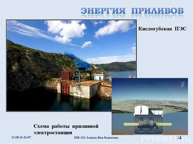 Кислогубская ПЭС Схема работы приливной электростанции * МН-121 Алиева Яна Важаевна * МН-121 Алиева Яна Важаевна