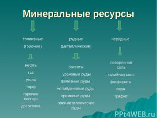 Минеральные ресурсы топливные (горючие) рудные (металлические) нерудные нефть га