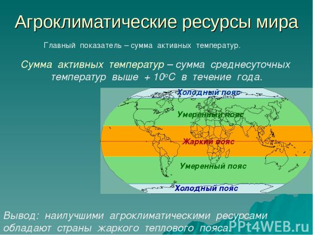 Агроклиматические ресурсы мира Главный показатель – сумма активных температур. Сумма активных температур – сумма среднесуточных температур выше + 10оС в течение года. Вывод: наилучшими агроклиматическими ресурсами обладают страны жаркого теплового п…